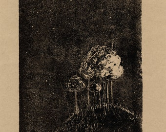 Small forest starry night artwork - Sometimes I speak to the stars - Limited edition black etching on kraft paper