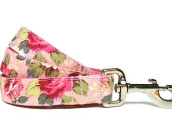 """Floral Dog Leash 1"""" Pink Dog Leash"""