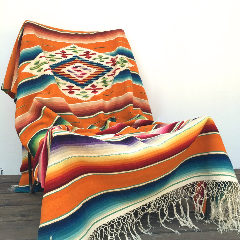 Mexican Sarape Saltillo Blanket Bright Orange RESERVED