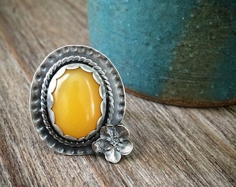 Yellow Copal Amber Statement Ring - Oxidized Sterling Silver Ring Custom Size - Natural BOHO Artisan Metalwork Jewelry Gifts for Her
