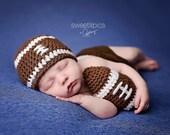 Newborn Boy Football Beanie and Ball -Ready to Ship