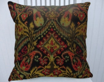 Black Red Chenille Pillow Cover- Decorative Pillow, Abstract Ikat Throw Pillow 18x18 or 20x20 or 22x22  Accent Pillow