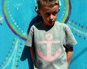 Appliqued Birthday Tee, Anchor and Age Applique, Kid's Custom T-shirt, Made-to-Order Birthday Shirt, Boy's Tops, Red and Navy