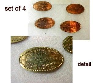 Pressed Penny Medallion of USS Arizona Memorial - Set of 4