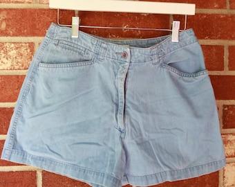 Blue Corduroy Shorts vintage summer retro women's M medium