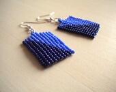 Light and dark blue rectangle seed beaded earrings, triangle pattern boho jewelry, everyday wear lightweight earrings