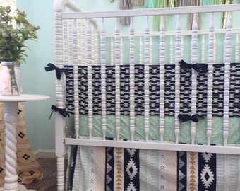 Aztec Themed Crib Bedding in Mint, Peach, Gold, and Navy Blue, Arid Horizon Baby Bedding, Arid Horizon Crib Sheet