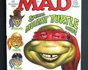 Dec 1989 Mad Magazine - Special Mutant Turtles Issue - No. 291 - Vintage Humor Magazine - Indiana Jones Movie Satire - Politics