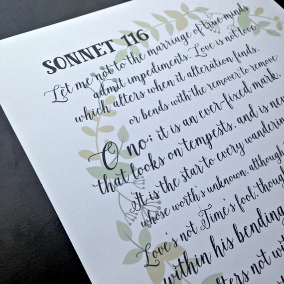 a review of sonnet 116 by william shakespeare This sonnet is one of shakespeare book reviews flashcards summary sonnet 116 by william shakespeare essay july 12, 2017 july 19, 2017 admin home sonnet.