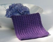 Hand knitted dish cloth - wash cloth - violet purple