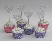 CLEARANCE 50% off - Christmas cupcake topper - food pick - tooth pick candy canes lollipops red white