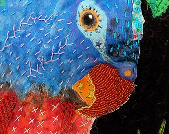 Reggae Parrot Art Quilt, Mixed Media Parrot, Embroidery Dreads, Hand Quilted Piece, Quilt Fiber Art, Shell Beaded Fern