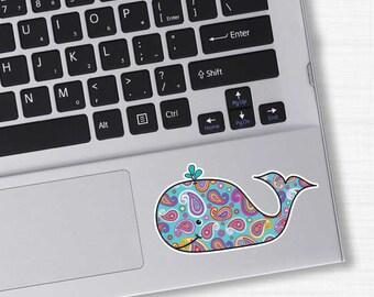 Paisley Blue Whale Laptop Sticker - Colorful Beach Bumper Sticker Car Decal Cute Animal Nautical Ocean Pink Blue Teal Orange White