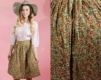 Vintage 1950s Brown Fall Novelty Print Circle Skirt