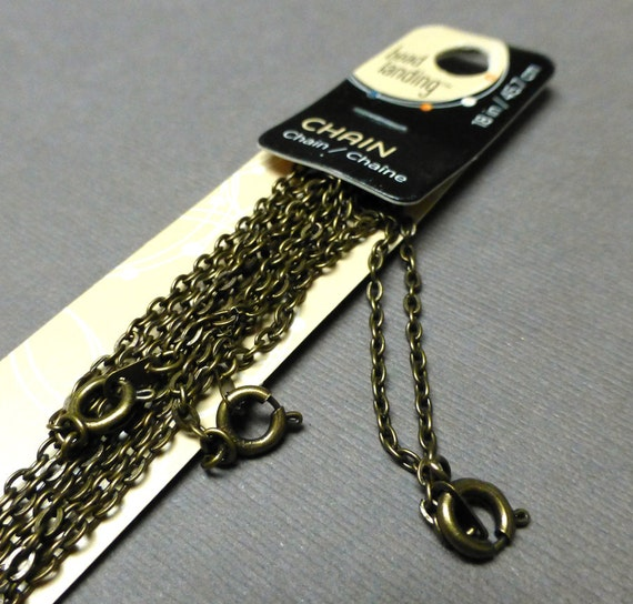 antique gold finished chain necklace bead landing 2mm 18