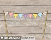 Confetti Party - Cake Bunting - Mini Banner - Cake Topper - Sprinkles - INSTANT DOWNLOAD - Printable PDF with Editable Text