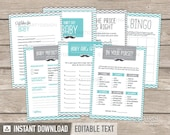 Little Man Baby Shower - Mustache Baby Shower Games Pack - Turquoise Grey - INSTANT DOWNLOAD - Printable PDF with Editable Text