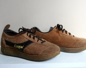 Vintage Cougar Suede Running Shoes Mens 8 Womens 9/10 1970s Earth Shoes Caramel Two Tone Wedge shoes