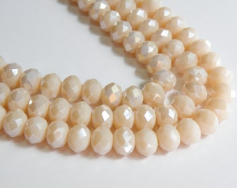 Navajo White AB Creamy Ivory Blush faceted glass rondelle beads 10x8mm full strand PF001-14L-4