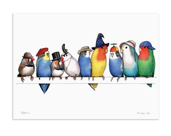 A Row of Little Birds in Hats - A3 Art Print