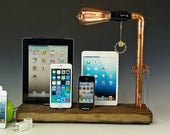 Docking stations and chargers for ANY 4 iToys AND a table lamp. Reclaimed wood & copper pipe. (758)