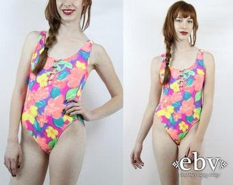 Vintage 80s Orange Floral One Piece Bathing Suit S M Floral Swimsuit Orange Swimsuit Floral Bathing Suit 80s Swimsuit One Piece Swimsuit