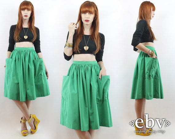 Vintage 70s Kelly Green High Waisted Knee Length Skirt XS S