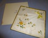 Handkerchiefs Vintage Gift Box Lot of 3 Hankies Yellow Roses