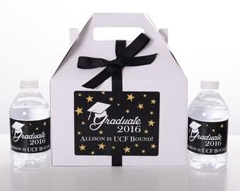 10 Graduation Favor Box Sets w/ 20 Water Bottle Labels - Graduation Party Favors