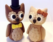 Owl Wedding Cake Topper - Choose Your Colors And Accessories