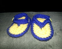 Yellow and Navy BABY FLIP FLOPS size 0-12 months
