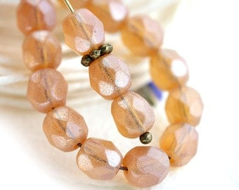 Peach beads, 6mm round beads, czech glass, Fire polished, matte beads, round faceted spacers - 30Pc - 2091