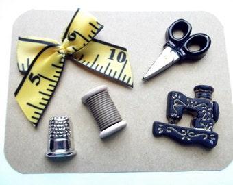 Sewing Themed Pushpins, Thread Spool, Cork Board Push Pins, Thumbtacks, Sewing Machine, Scissors, Thimble, Sewing Kit, Seamstress GIft