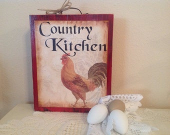 Rooster Country Kitchen Sign..KItchen Decor..Rooster Decor..Country Decor.Free Standing .Wood Block. Shelf Setter. Rooster Collector