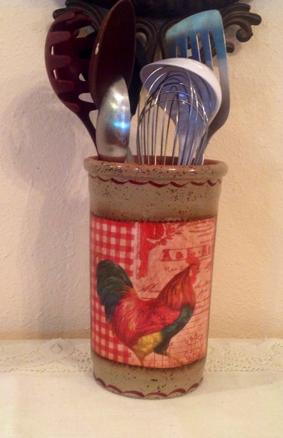 Rooster Utensil Holder Kitchen Decor Country By
