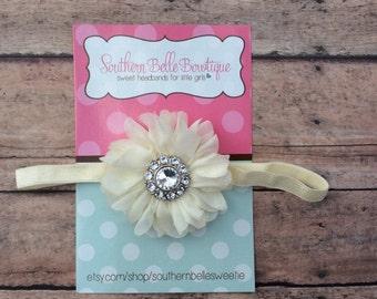 Baby headband, infant headband, newborn headband - ivory chiffon scalloped ruffle flower and rhinestone center headband