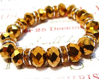 Gold Faceted Crystal Rondelle Stretchy Bracelet with Goldtone Crystal Rondelle Spacer Beads