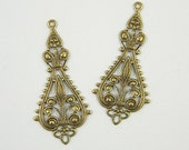Antiqued Brass Filigree, Earring Dangle, Filigree Connector, Pendant Stamping 20mm x 43mm - 4 pcs. (B122)