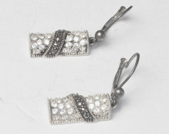 Sterling Silver Marcasite & Crystal Vintage Fine Jewelry Pierced Dangle Earrings