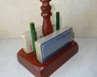 Vintage Wooden Card Stand Double Deck Playing Cards Set of 2 Decks
