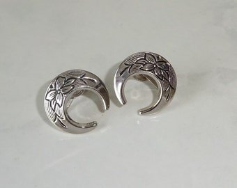 Vintage Ernest Steiner KARU Silver Crescent Screw Back Earrings