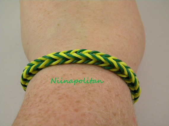 Green and yellow rubber band bracelet green bay packers single