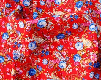 4011B - Paisley and Flowers on red background