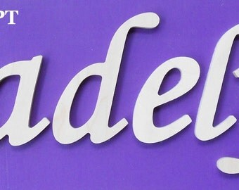 """Wooden Wall Letters - Unpainted - 6"""" Size - Script plus Various other Fonts - Gifts and Decor for Nursery - Home - Playrooms - Dorms"""
