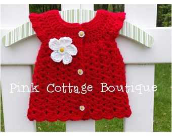 Flutter sleeve crochet dress, red, baby girl, size NB, ready to ship