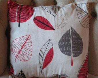 "Red Leaves Cushion Cover 16"" (no 2)"
