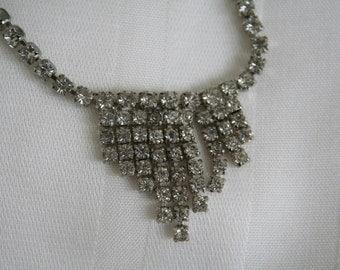 Vintage Waterfall Rhinestone Necklace