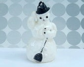 vintage snowman ornament, Christmas, Winter, Christmas tree ornament, 50's, celluloid