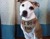 Burlap Dog Wedding Bandanna - I Do Too Pet Wedding Prop - Pet Wedding Scarf - Cute Dog Wedding Scarf - Wedding Decorations - Pet Bandanna