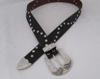 Belt Black Leather Rhinestone buckle heart/wings bling/retro/ cowboy/ rocker/ high fashion